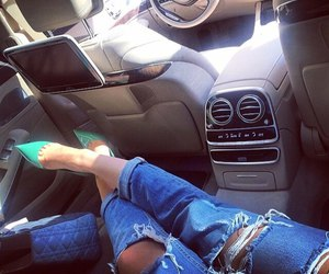 car, jeans, and style image