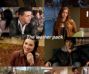 leather jacket, pack, and teen wolf image
