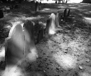 black and white, cemetery, and death image