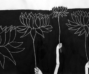 flowers, black and white, and art image