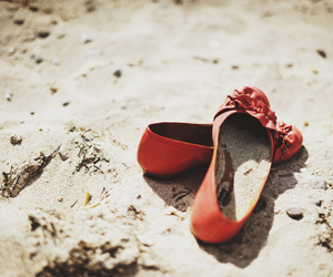 shoes, beach, and red image