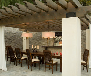 outdoor, wooden furniture, and wooden pergola image