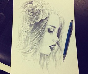 drawing, flowers, and beautiful image