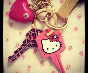 hello kitty, pink, and key image