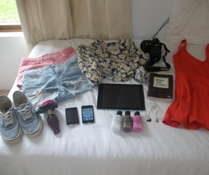 bed, camera, and clothes image