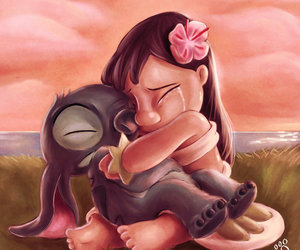 crying, drawing, and lilo & stitch image