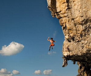 man, fall, and rock climbing image