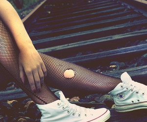converse, girl, and railway image