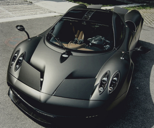car, black, and pagani image