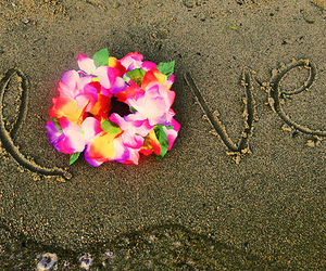 love, beach, and flowers image