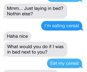 bed, cereal, and funny image