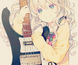 anime, guitar, and anime girl image