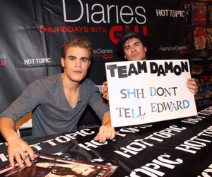 ian somerhalder, damon, and paul wesley image