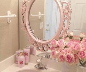 pink, mirror, and rose image