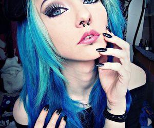girl, blue hair, and scene image