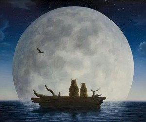 beauty, boat, and moon image