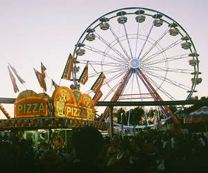 ferris wheel, pizza, and park image