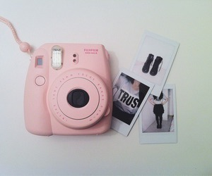 pink, camera, and polaroid image
