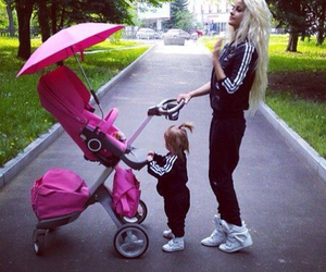 baby, daughter, and hot pink image