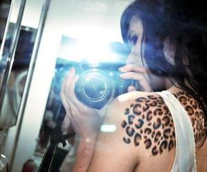 girl, leopard print, and tattoo image