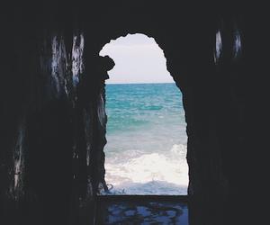 beach, sea, and cave image