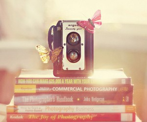 book, butterfly, and camera image