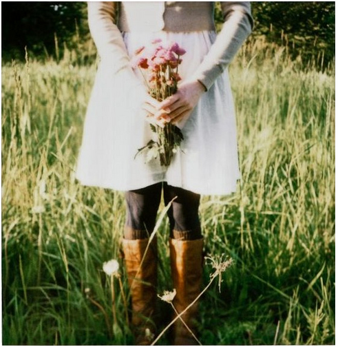 boots, field, and flowers image