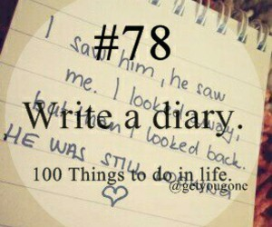 diary, 100 things to do in life, and write image