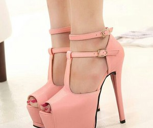 heels, high, and pink image