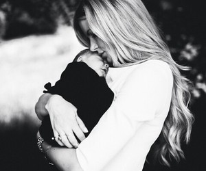 baby, black and white, and love image
