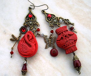 beautiful, earrings, and oriental image