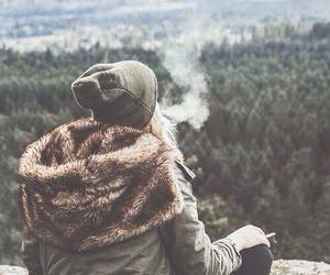 forest, smoke, and girl image