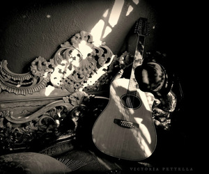 art photography, black and white, and guitar image