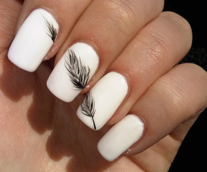 nails, white, and feather image