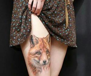 tattoo, fox, and wolf image