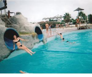 girl, water, and aquapark image