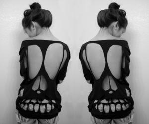 girl, skull, and black and white image