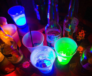alcohol, neon light, and lets get drunk image