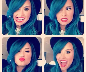 blue hair and demi image