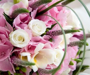 bouquet, flowers, and white and pink image