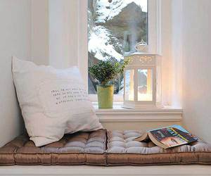 cozy, snow, and reading nook image