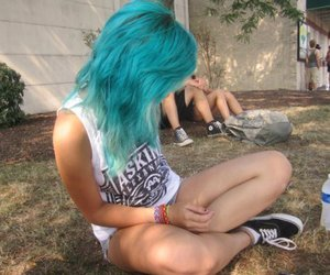 band, colored hair, and turquoise image