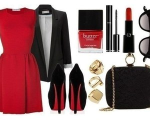 dress, look, and red image
