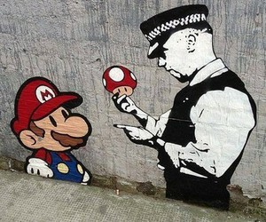 mario, police, and graffiti image