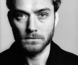 jude law and black and white image