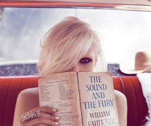blonde, model, and book image