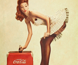 Pin Up, coca cola, and vintage image