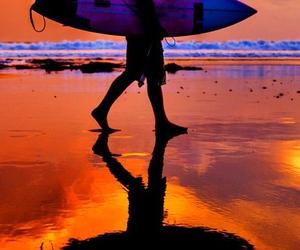 beach, sunset, and boy image