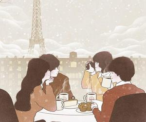 coffee, couple, and illustration image