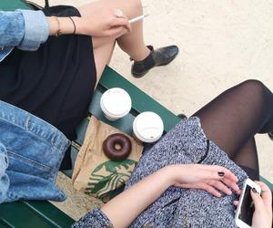 girl, starbucks, and cigarette image